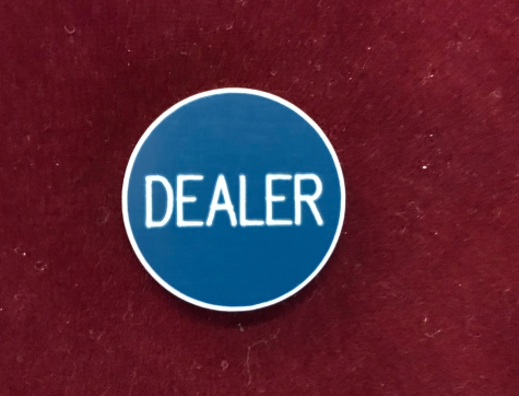 Blue Dealer Poker Button